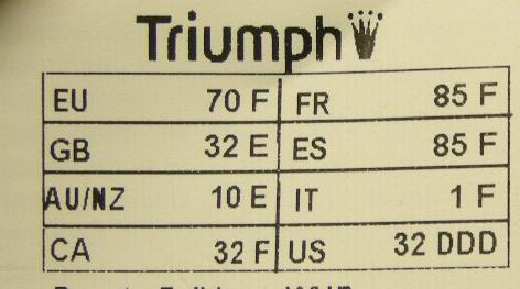 lace fr sizeguide triumph rh lace fr  guide taille triumph moto